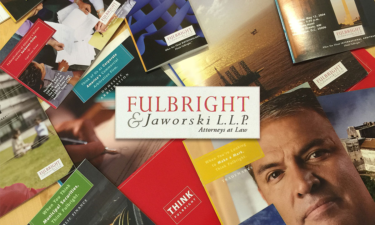 A banner for FullBright & Jaworski L.L.P. Banner featuring books.