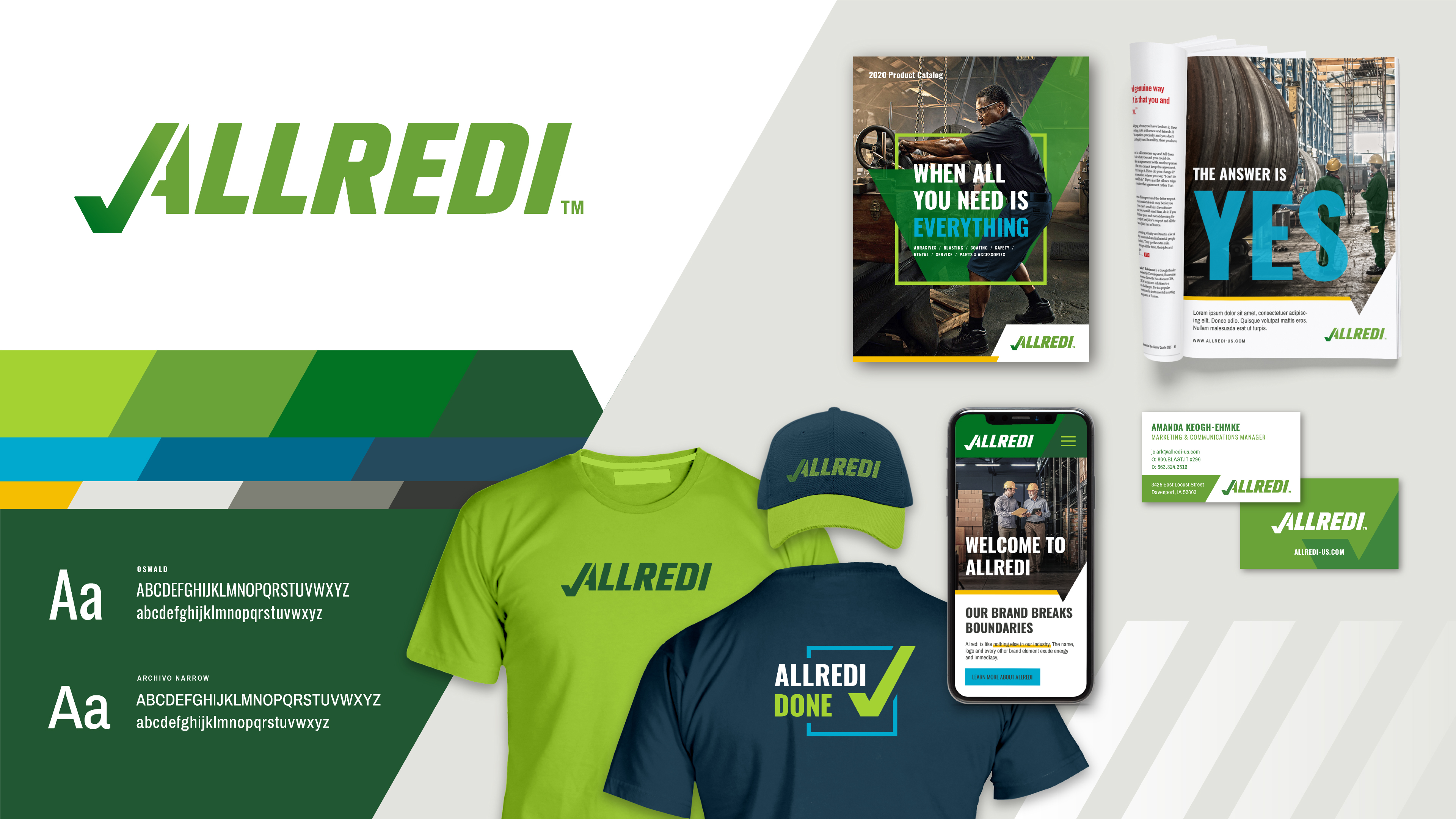 A brand board detailing how to visually use the new Allredi brand design including